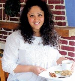 Falguni Khanna, co-owner of Maruti Restaurant in Mt. Shasta, prepares her own chai from cardamom, fresh ginger, lemongrass, black tea leaves, and other ingredients.