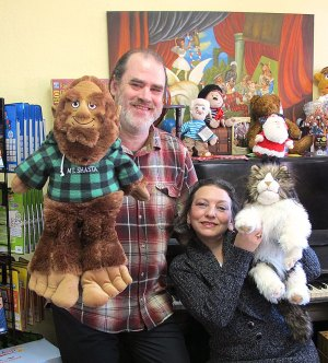 Co-founders Daniel and Simona Bryan in their fun-filled Mt. Shasta toy store ePuppets.com.