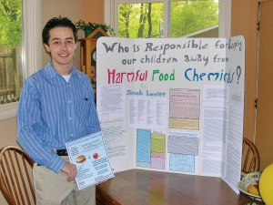 Jonah, at age 17, sharing his research on chemicals in our food.