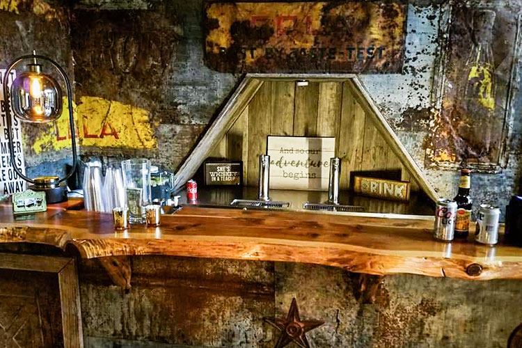 bar setup at an industrial venue