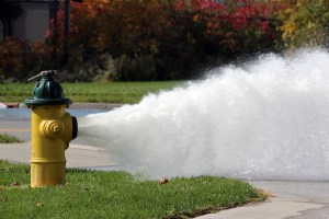 Graphic showing a hydrant being flushed.