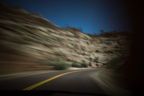 Slow shutter drive, Zion National Park, Utah, USA on northtosouth.us
