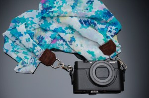 Luxury silk scarf camera strap by Stylish Travel Girl