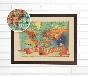 pushpin travel map by WendyGold on Etsy