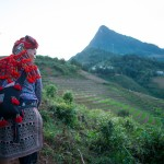 Red Dao woman with embroidered clothes