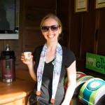 sampling coffee pre-tour at Cafe Britt