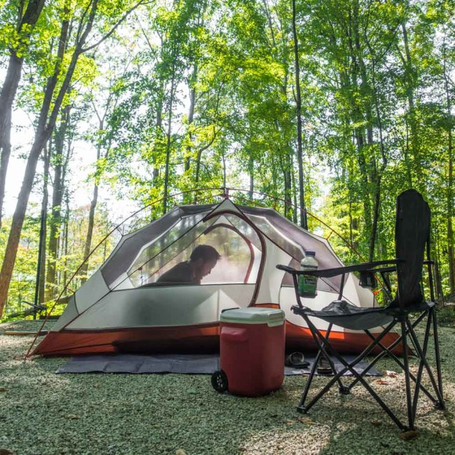 REI Half Dome 2 Plus Tent pitched in Daniel Boone National Forest, Kentucky