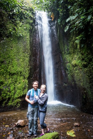 Diana Southern and Ian Norman at a waterfall on Sky Walk hanging bridges tour with Sky Adventures Arenal, Costa Rica
