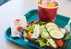 Wendy's side salad and cup of chili