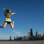 Diana jumping in front of Chicago skyline