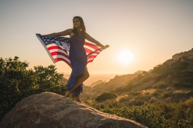 stunning travel portraits: patriotic sunset flag shot