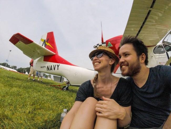 Diana and Ian at Oshkosh 2015 with the Seabee Warbird