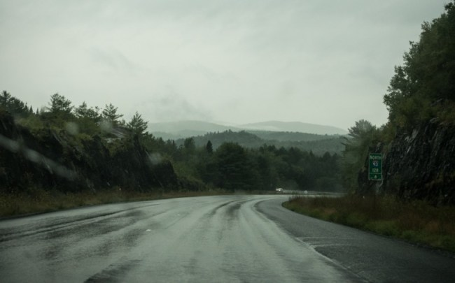 a rainy day driving through Vermont