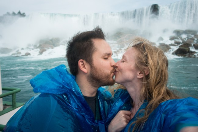 Kissing on the Maid of the Mist at Niagara Falls U.S.