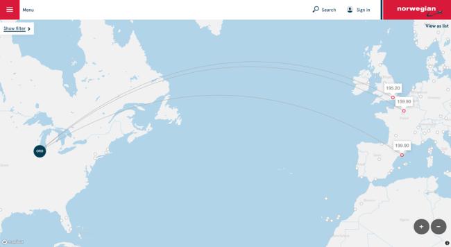Norwegian Air route map