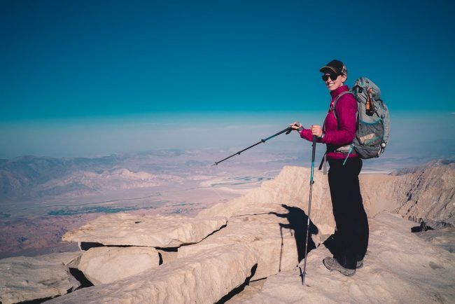 Diana Southern at the Mt Whitney Summit - Hiking Mt Whitney - northtosouth.us