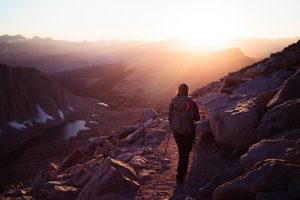 Hiking Down from Mt Whitney at Sunset, West Side of Mt Whitney - northtosouth.us