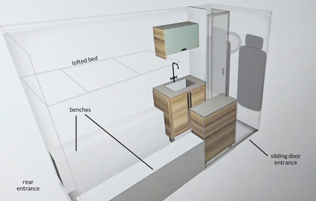 Ford Transit camper van conversion layout plans
