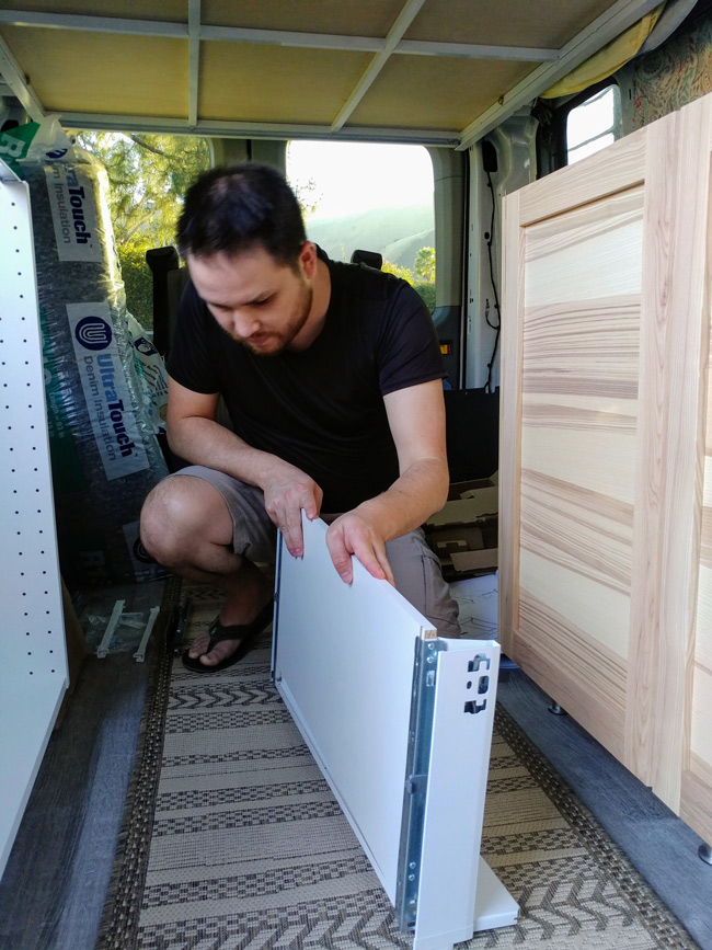 Installing the Cabinets in our Ford Transit Van