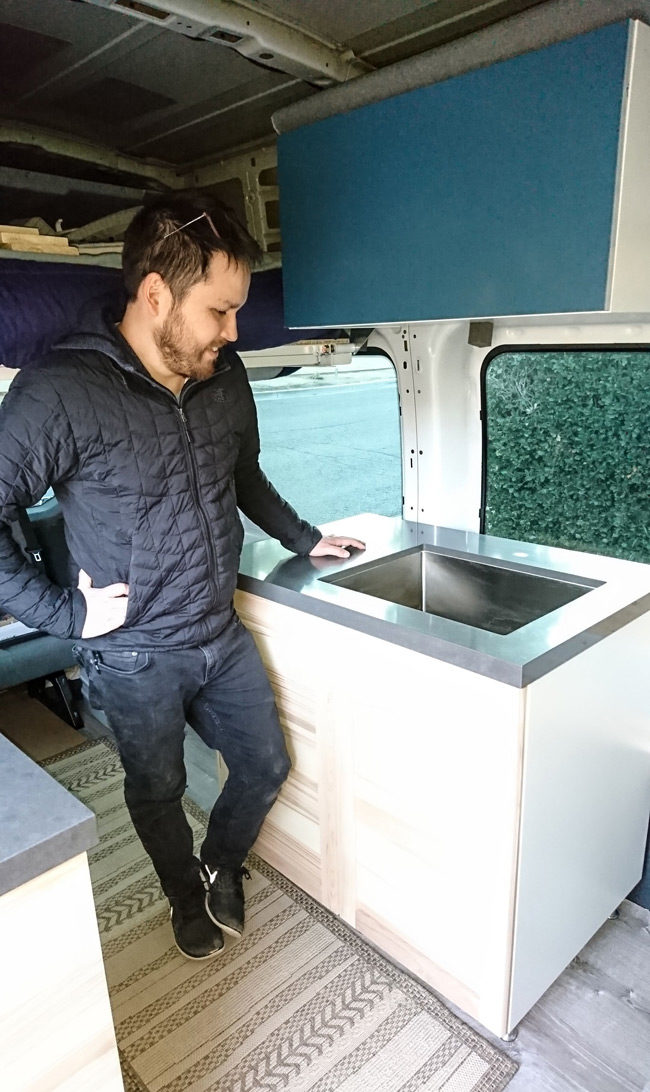 sink and quartz countertops in the Fort Transit Van camper conversion