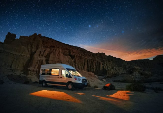 Ford Transit Campervan under the stars on North to South