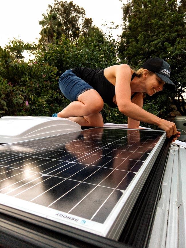 Renogy solar panel setup on our Ford Transit campervan