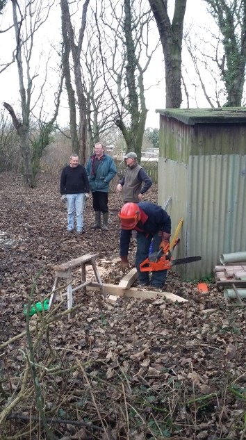 The corner post for the shuttering being cut