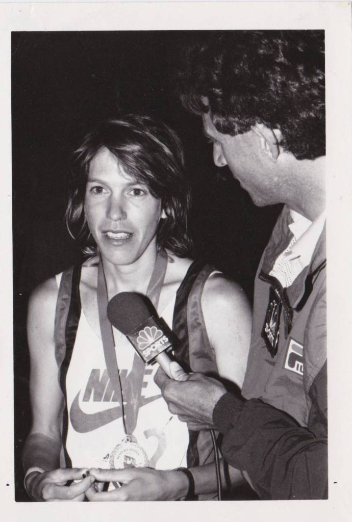 Ann being interviewed by NBC sports after her first Western States finish and win in 1989.