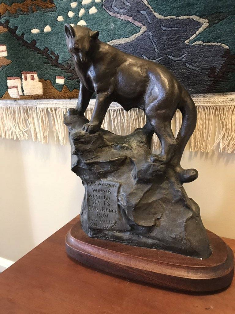 One of Ann Trason's Western States cougar trophies.