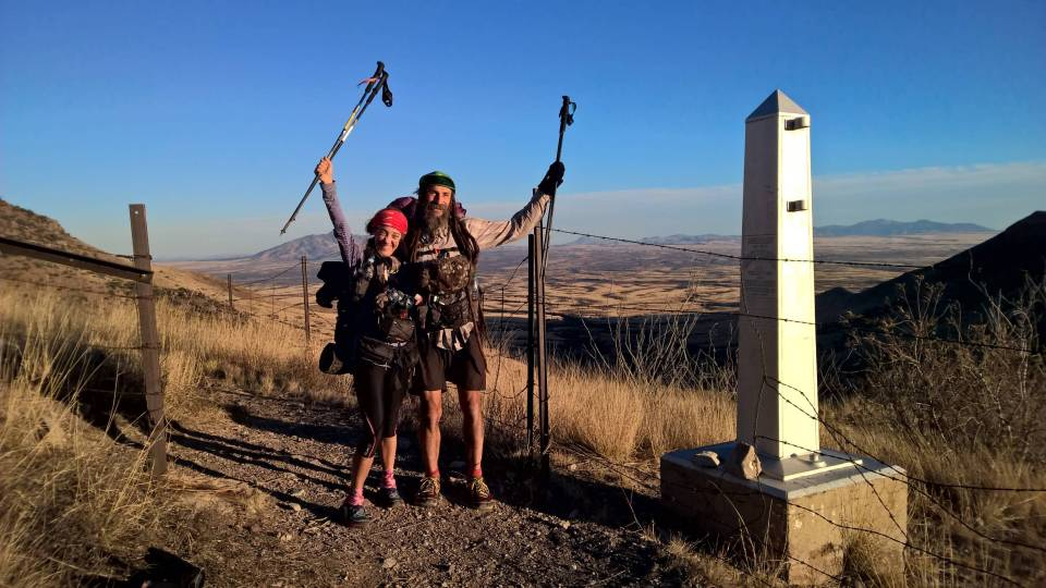 Kathy and Ras Vaughan after completing the first ever Arizona National Scenic Trail Yo-yo OKT. December 2015 Photo by Sirena Dufault. UltraPedestrian.com