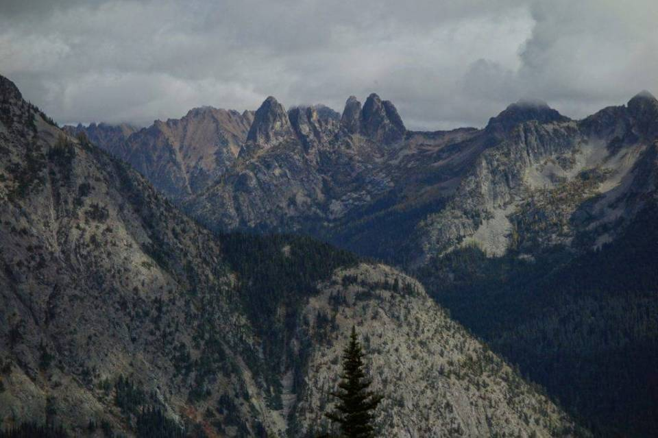Liberty Bell and the Early Winter Spires as viewed from SE of Maple Pass