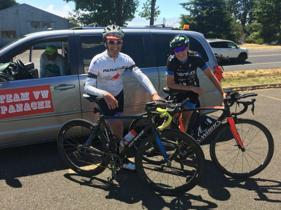 Mick Walsh and Jamie at 2018 Race Across Oregon