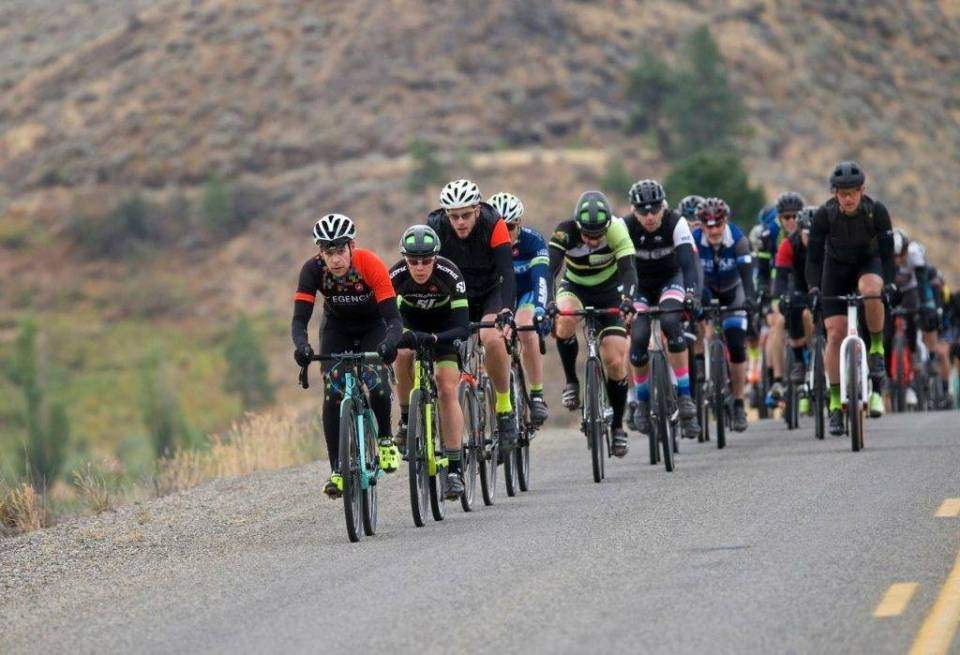Jamie near the sharp end early in a WA state fondo