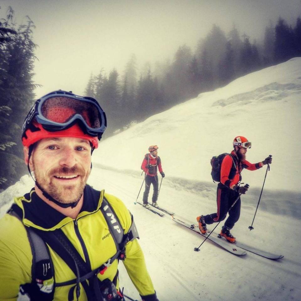Richard Kresser and Aaron Ostrovsky skin up an established uptrack during the Mountaineers' 2016 Patrol Race. Selfie Credit: Gavin Woody