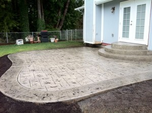 stamped concrete steps and patio