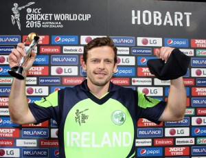 2015 ICC Cricket World Cup, Pool B, Blundstone Arena, Hobart, Tasmania, Australia 7/3/2015 Ireland vs Zimbabwe Ireland's Ed Joyce is presented with the man of the match award Mandatory Credit ©INPHO/Barry Chambers