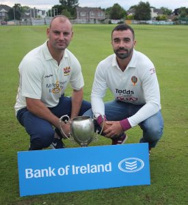 Bank of Ireland cup final captains Andy Britton (Brigade) and Stuart Thompson (Eglinton)