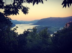 View of the Columbia River Gorge at sunset on Sankt Hans Aften