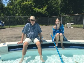 Claus, and his granddaughter, Sofia, enjoying the pool on Sunday