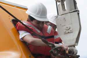 Recovering lifeboat during drill