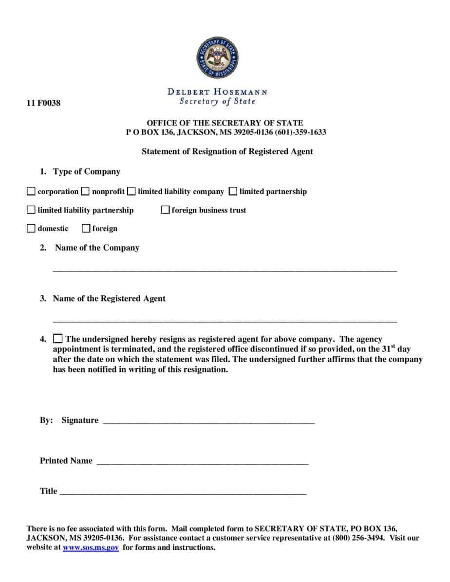 Mississippi Secretary Of State Business Entity Search : mississippi, secretary, state, business, entity, search, Resign, Registered, Agent, Mississippi, Corporation