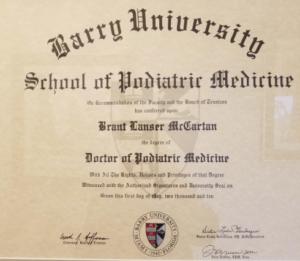 Dr Brant L McCartan DPM Degree