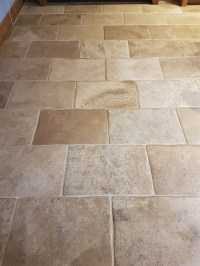 Yellow Stained Bullnose Travertine Tiles Rejuvenated in