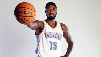 Oklahoma City Thunder Introduce Paul George during Portrait Shoot