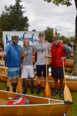 Mr. Eaton, Cisco DelliQuadri '20, Lars Kroes '21, and Mr. Nemec at the 90-Miler Canoe race in September, 2019 (Photo provided).