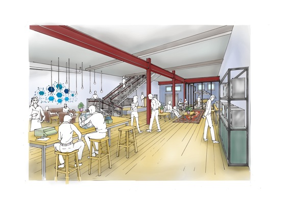 This rendering shows what the first floor of Northwood School's Main Street Innovation Hub may look like. (Provided photo — Northwood School)