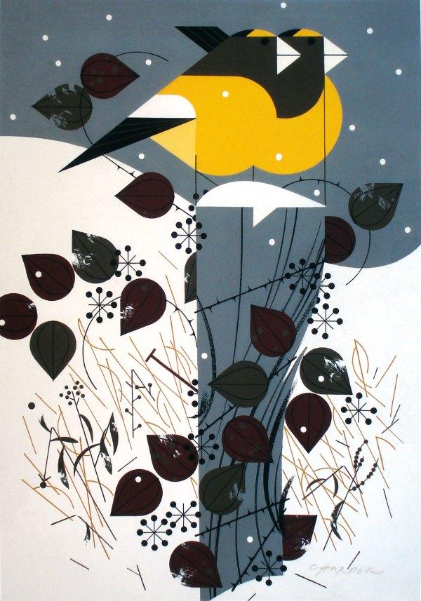 Charley Harper - Evening Grosbeaks
