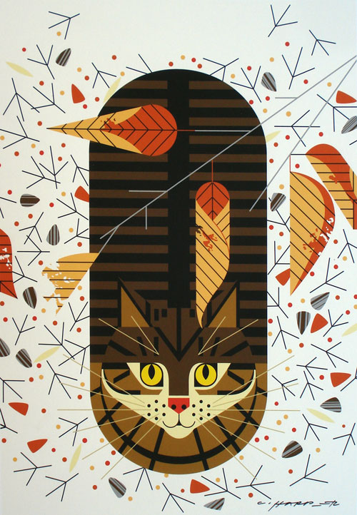 Charley Harper - Purrfectly Perched