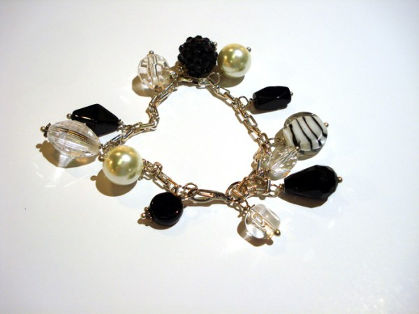 black and white multi bead bracelet by Karen Roodman