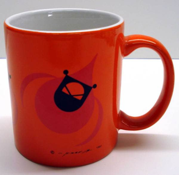 Charley Harper Flying Cardinal mug on orange background